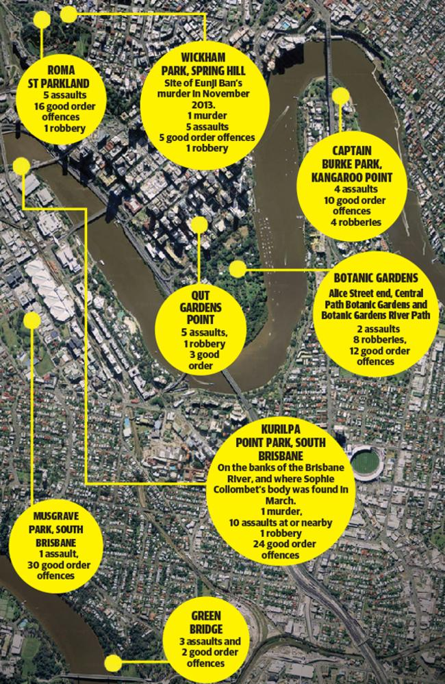 The crime hotspots around Brisbane's inner-city area.