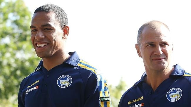 Will Hopoate and new head coach Brad Arthur arrive at a Parramatta Eels session today.
