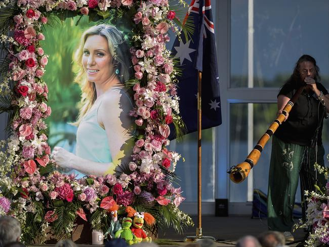 Johanna Morrow plays the didgeridoo during a memorial service for Justine Damond in Minneapolis last month. Picture: AP