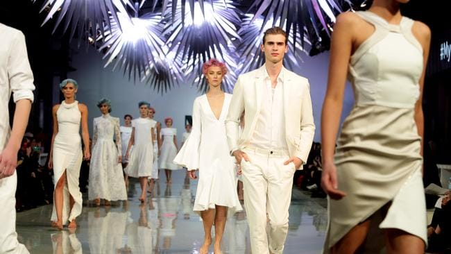Models head down the catwalk at the Myer Spring Summer SS15 Fashion Launch.