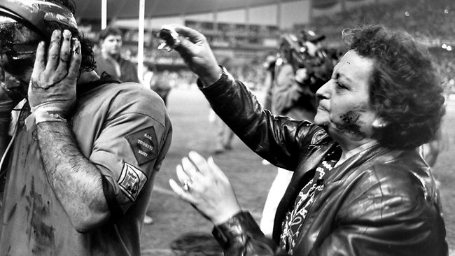 Benny Elias with blood coming from head wound, with his worried mother after Game One of 1992 NSW v Queensland State of Origin series at the SFS in Sydney. Pic Anthony Weate.