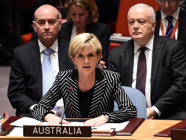 "'Grotesque violations' ... Foreign Minister Julie Bishop speaks at a meeting of the UN Security Council demanding pro-Russian separatists provide ""full and unfettered access"" to the MH17 crash site. Picture: Timothy A Clary"