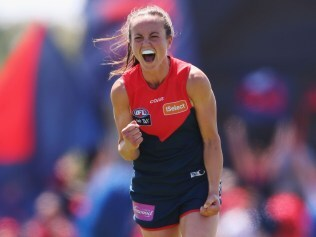 MELBOURNE, AUSTRALIA - FEBRUARY 25: Daisy Pearce of the Demons celebrates the win on the final siren during the round four Women's AFL match between the Melbourne Demons and the Carlton Blues at Casey Fields on February 25, 2017 in Melbourne, Australia. (Photo by Michael Dodge/Getty Images)
