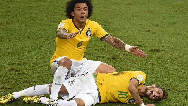 Marcelo was the first on the scene to assist the striken Neymar.