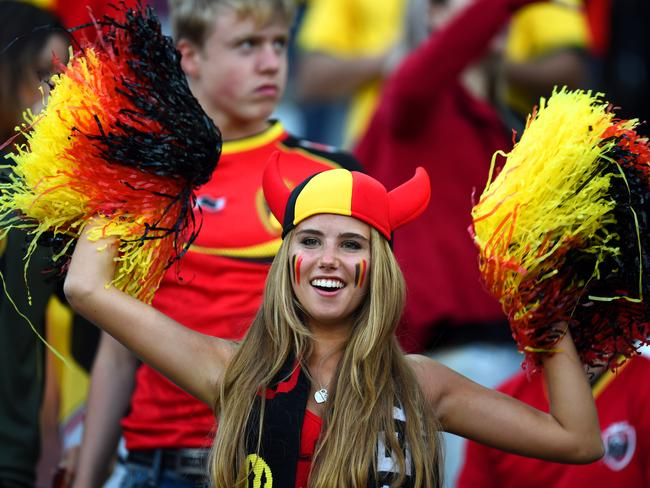 A Belgium fan cheers during the 2014 FIFA World Cup Brazil Group H match between South Korea and Belgium at Arena de Sao Paulo.