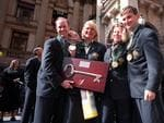 Aust equestrian team members Andrew Hoy with Gillian Rolton, Wendy Schaeffer and Phillip Dutton holding key to the city of Adelaide.