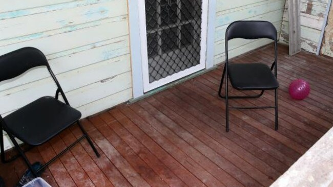 The abandoned veranda of Ben Batterham's house after the March 2015 incident which resulted in the young father being charged with murder. Picture: Peter Clark
