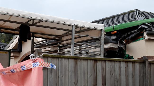 The tractor caused substantial damage to the roof and bedroom, police said. Picture: Nicole Garmston