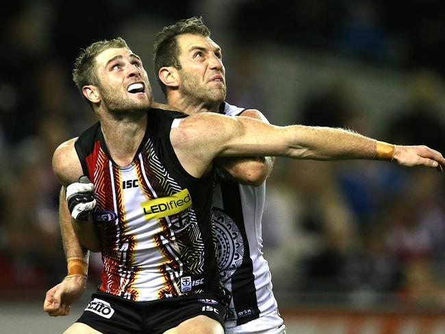 Luke Delaney had a tough night out trying to contain Travis Cloke. Picture: Wayne Ludbey