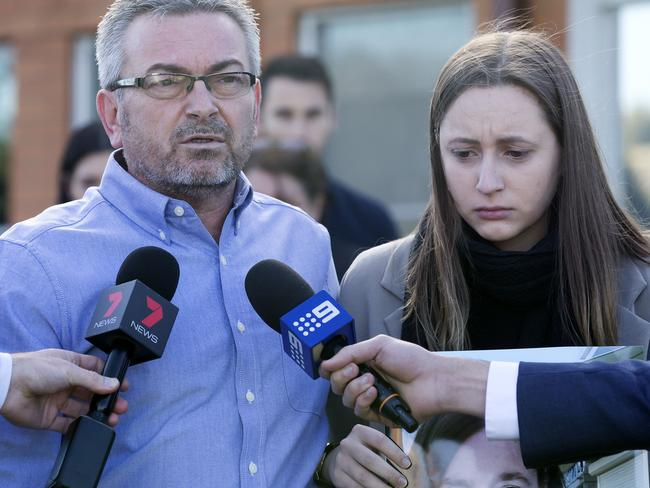 Borce and Sarah Ristevski address media outside Avondale Heights Police Station shortly after Karen's disappearance in June last year. Picture: Sarah Matray