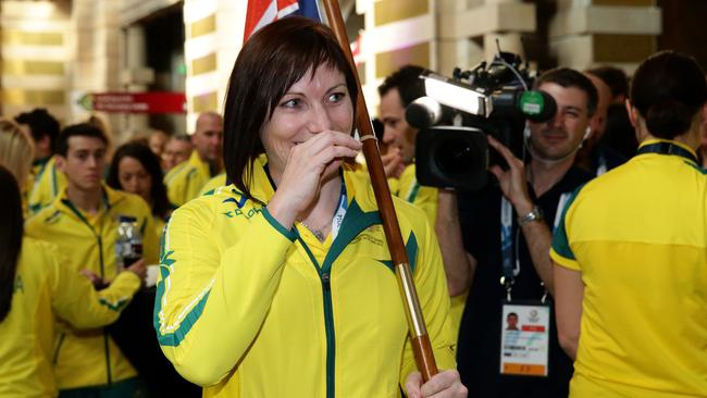 Anna Meares rides a wave of emotion after being announced as Australia's flag bearer.