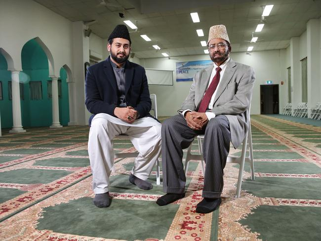 Imam Muhammad Atae Rabbi Hadi and Imam Inam-ul-Haq Kauser have condemned the use of the Muslim religion in the name of terrorism. Picture: Richard Dobson