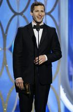 Andy Samberg presents an award at the 73rd Annual Golden Globe Awards at the Beverly Hilton Hotel in Beverly Hills, Calif., on Sunday, Jan. 10, 2016. (Paul Drinkwater/NBC via AP)