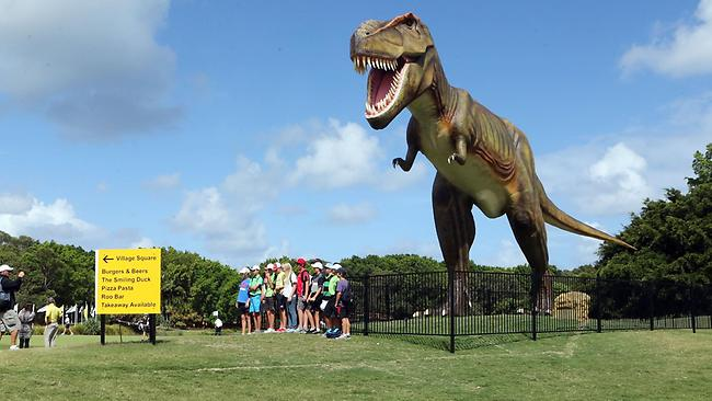 Jeff the tyrannosaurus rex overlooks the 10th tee at Coolum. Picture: Glenn Barnes