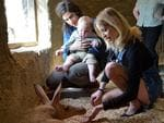 A heavily pregnant Peaches Geldof, her husband Thomas Cohen and their son Astala meet the Zoo's aardvarks during a visit to ZSL London Zoo on April 23, 2013 in London England. Picture: Getty