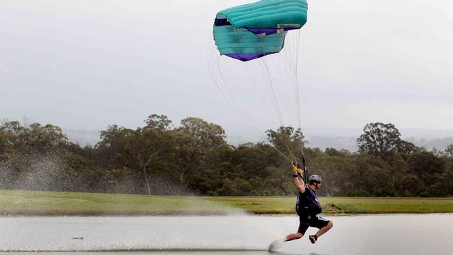 Competitors Skim Along A Swoop Pond At Speeds In Access Of 100km Hr During The Canopy Piloting Event Keven Walters WA