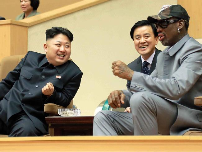 North Korean leader Kim Jong-un (left) talks with former NBA player Dennis Rodman in Pyongyang in 2014. Picture: Korean Central News Agency/Korea News Service via AP
