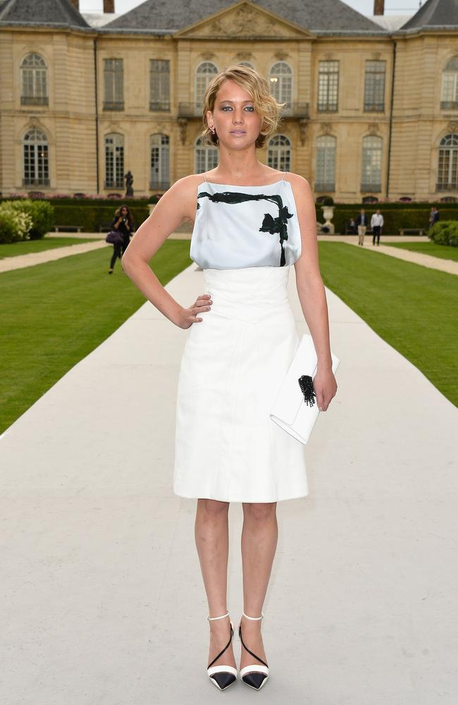 Chic ... Jennifer Lawrence wore black and white for the occasion.