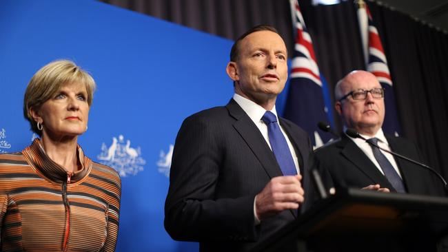 Foreign Minister Julie Bishop, Prime Minister Tony Abbott and Attorney General George Brandis / Picture: AFP