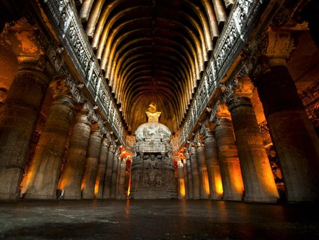 A stupa at the Ajanta Caves. Picture: Thinkstock