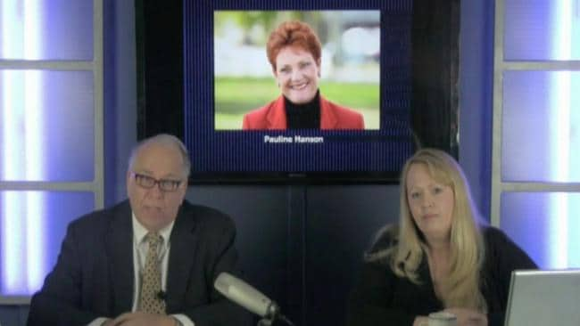 Every day Pastor Thomas Robb and Rachel Pendergraft stream a 'news' service focused on white nationalism. Today they're discussing Pauline Hanson. Picture: Channel 9
