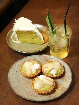A selection of desserts using pandan as an ingredient at Haymarket's Boon Cafe. Picture: Richard Dobson