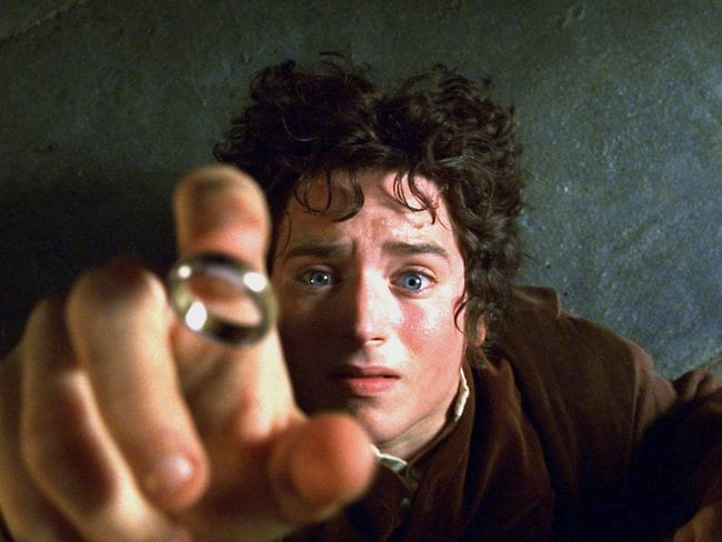 Actor Elijah Wood in a scene from the The Lord of the Rings.