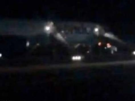 Passengers injured in emergency on Thomas Cook aircraft. Picture: YouTube