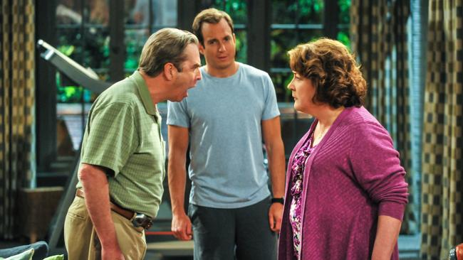The Millers stars Will Arnett (centre) as Nathan Miller, Beau Bridges as Tom and Margo Martindale as Carol.