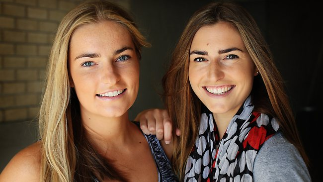 Frances Abbott and Bridget Abbott, two of the Federal Opposition leader Tony Abbott's three daughters. Picture: Craig Greenhill