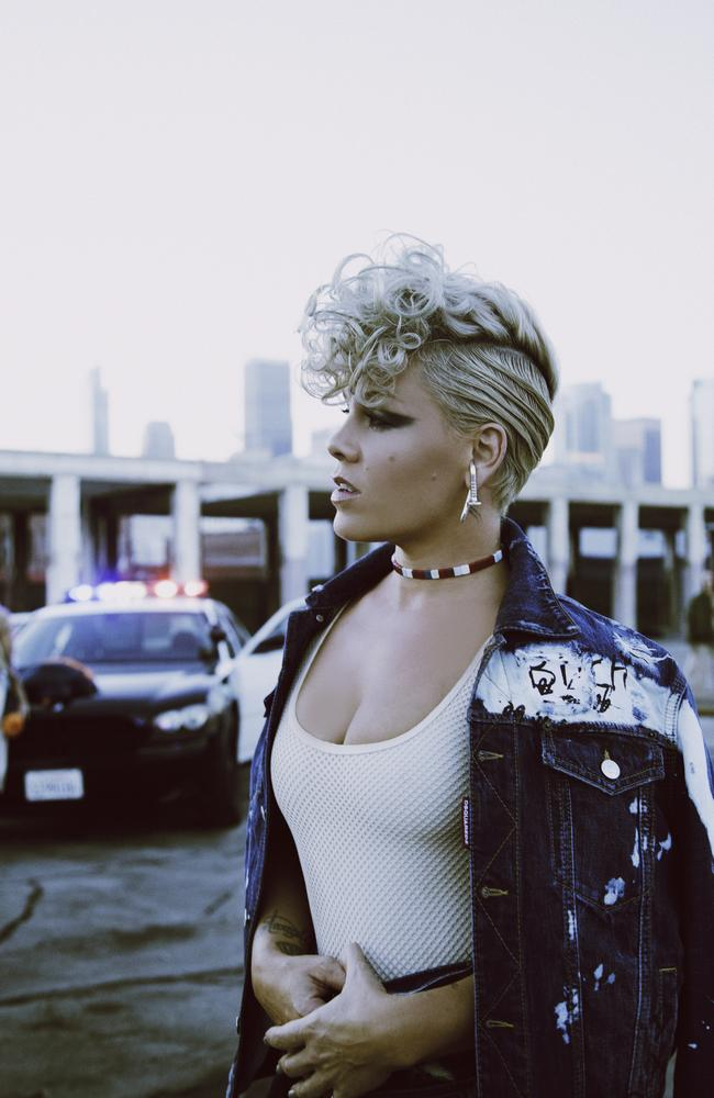 Pink on the set of her What About Us video shoot. Picture: Sony Music
