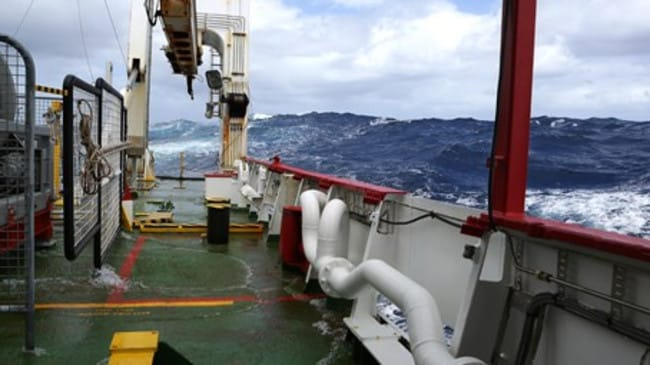 Difficult search ... vessels in the Southern Indian Ocean have endured rough conditions looking for MH370. Picture: ABIS Chris Beerens, RAN, ATSB