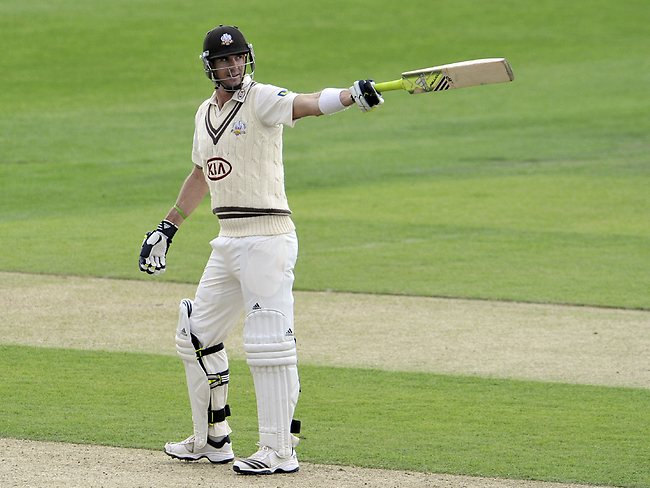 Kevin Pietersen celebrates after he reaches his 100 agaisnt Yorkshire.