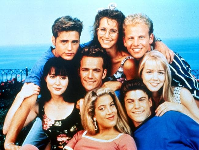 The cast of Beverly Hills 90210, Ian Ziering is top right / Picture: Supplied