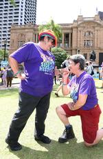 Roz Rogers and partner Judy Munns celebrate the decision. Same-sex couples and their friends and family gather at Queens Gardens this morning to watch the SSM result announced live by the ABS. Picture: Peter Wallis
