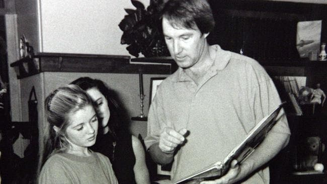 Robert Hughes pictured on the set of Hey Dad with Sarah Monahan, who would later accuse him of sexual assault. Picture: Channel Seven