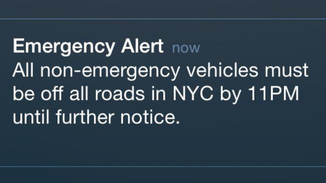Emergency texts like this are common during a New York winter.