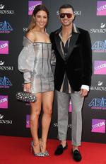 Jules and Guy Sebastian arrive on the red carpet for the 31st Annual ARIA Awards 2017 at The Star on November 28, 2017 in Sydney, Australia. Picture: Richard Dobson