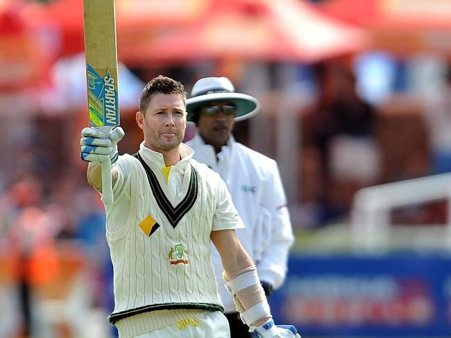 Century! Michael Clarke gestures after reaching the 100 run mark on the second day of the third Test cricket match between South Africa and Australia. Picture: AFP