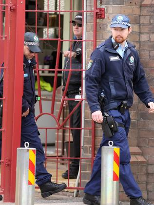 Police at the Emanuel School. Picture: John Grainger
