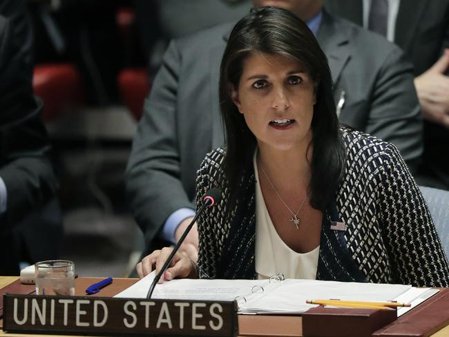 Nikki Haley, US ambassador to the United Nations, speaks during a Security Council meeting, Friday, April 13, 2018. Picture: AP Photo/Julie Jacobson