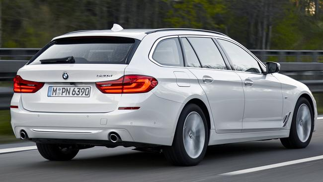 BMW 520d: Self-steering (briefly), cross-traffic alert plus blind spot and lane departure watchdog tech.