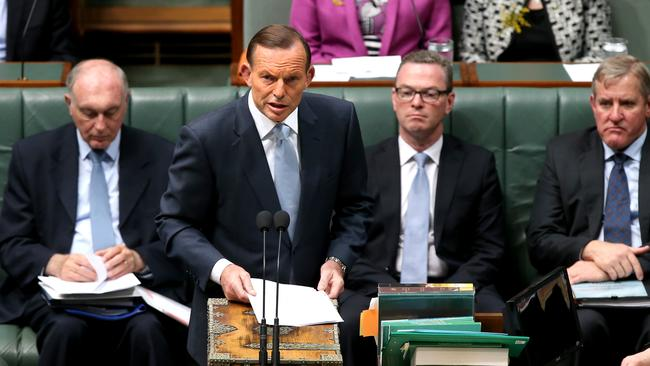 Tony Abbott making a statement on Iraq during Question Time in the House of Representatives Chamber, Parliament House in Canberra.