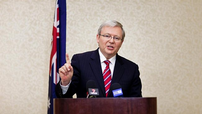 Mr Rudd pictured announcing his resignation in Washington. Picture: T.J Kirkpatrick