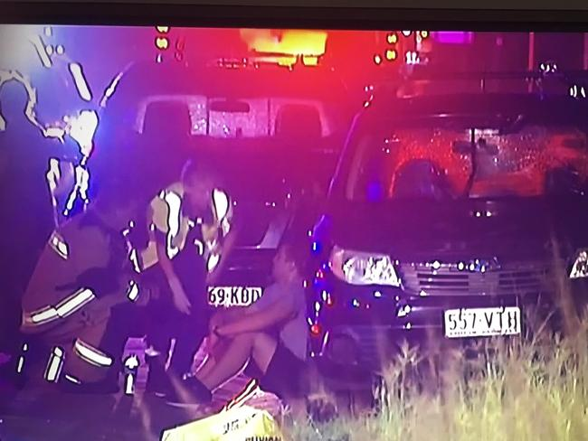 The scene where Mr Prime was allegedly bashed on the M1 between Yatala and Pimpama near the Gold Coast. Picture: Network 10