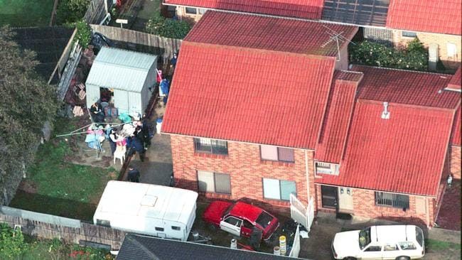 An aerial of 30 Springfield Drive, Narre Warren, when it was raided in July, 2000.