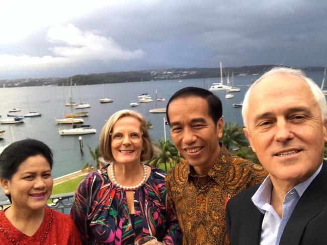 A picture taken from the Twitter account of Indonesian President Joko Widodo during his Australian visit at Malcolm Turnbull's residence in Sydney. Picture: Twitter