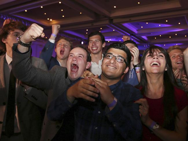 So excited ... No supporters react to the results in their favour.