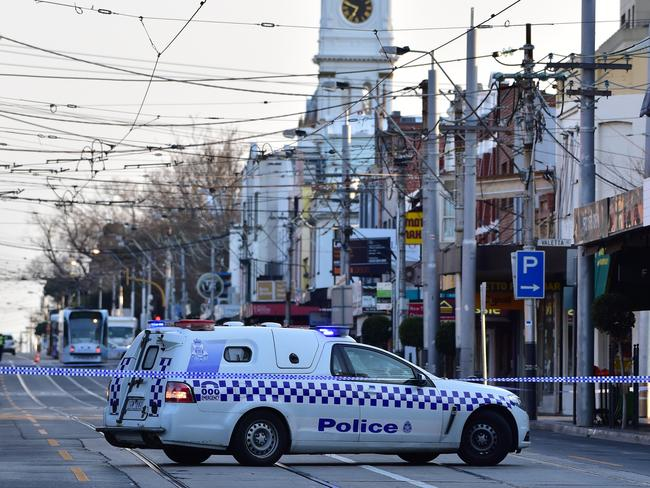 Police closed a section of Glenferrie Road this morning, disrupting trams. Picture: Stephen Harman