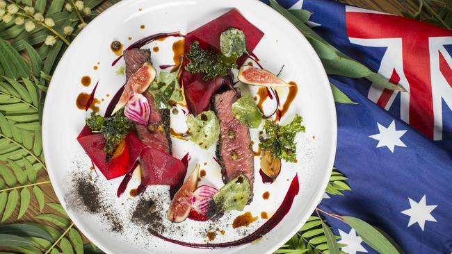 Scott Pickett's kangaroo, beetroot and fig dish. Picture: Eugene Hyland